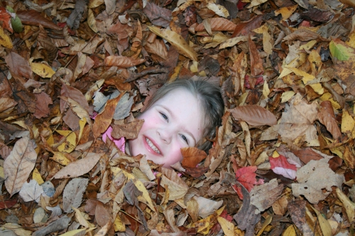 Playing in colorful, crunchy fall leaves.