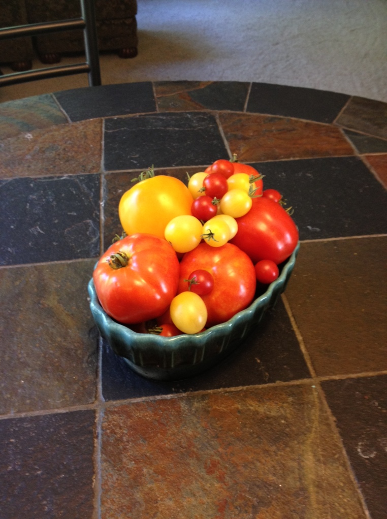 Tomatoes make a colorful centerpiece.
